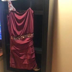 Burgundy red with rhinestone trim party dress
